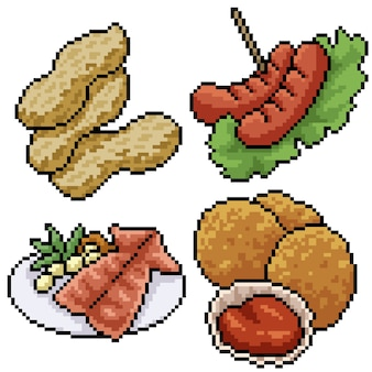 Pixel art set isolated snack meal