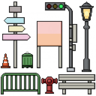 Pixel art set isolated street items prop
