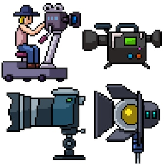 Pixel art set isolated studio camera