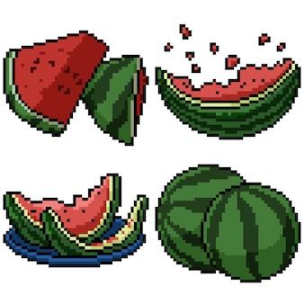 Pixel art set isolated sweet watermelon