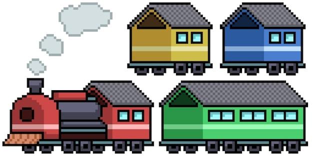 Пиксель арт набор изолированных поезд игрушка