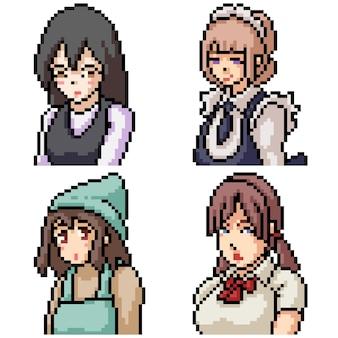 Пиксель арт набор изолированных униформа аниме девушка