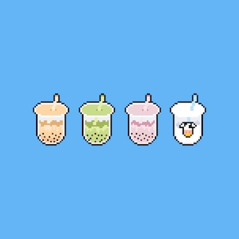 거품 우유 차 아이콘 디자인의 픽셀 아트 세트.