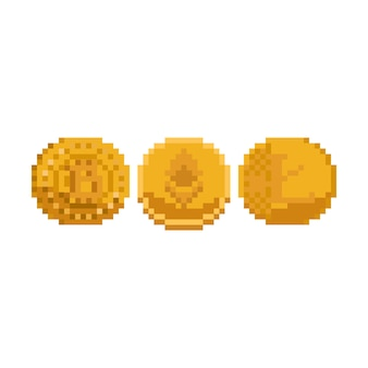暗号通貨のピクセルアートセット