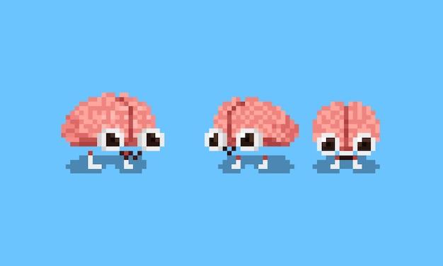 귀여운 두뇌 캐릭터의 픽셀 아트 세트
