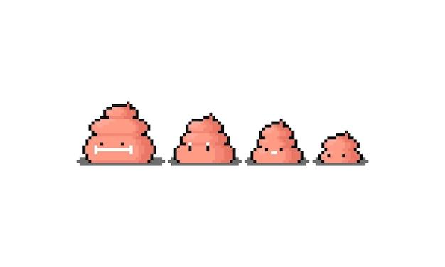 Пиксель-арт набор симпатичного персонажа какашки