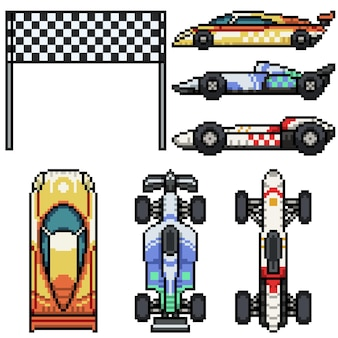 孤立したレースカーのピクセルアートセット