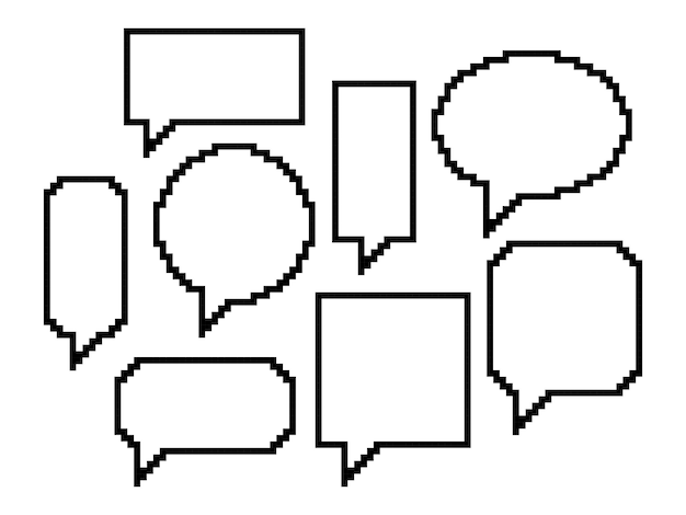 Pixel art, set of speech bubbles
