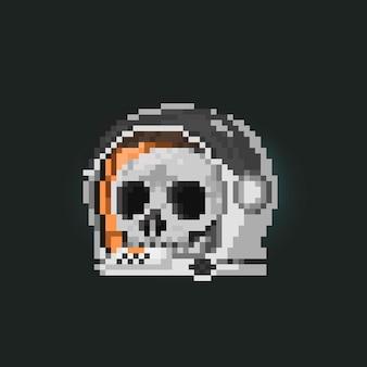 Pixel art skull head inside the astronaut helmet icon