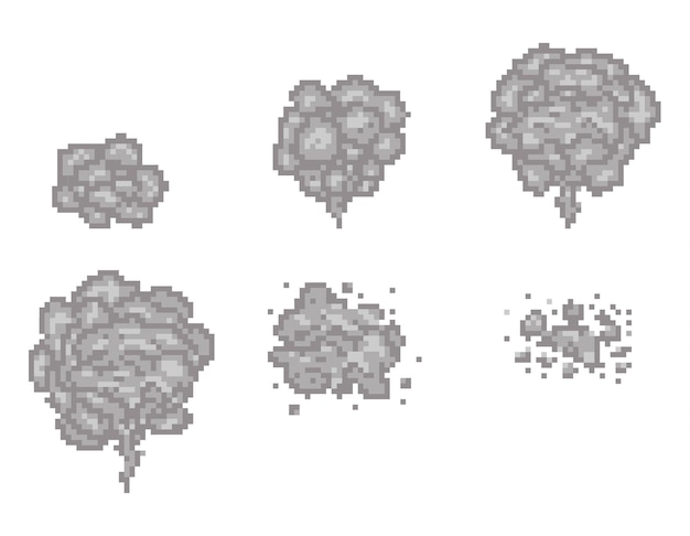 Pixel art smoke animation frames for game. pixel game smoke, cloud pixel smoke, video animation pixel smoke illustration