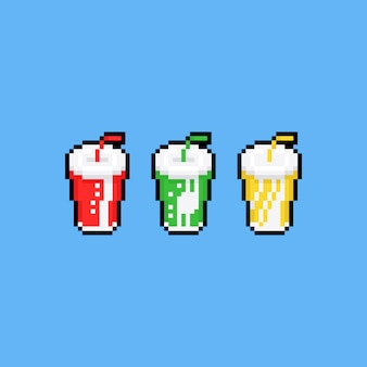 Pixel art soft drink paper cup icon set.