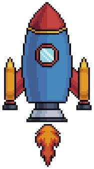Ракета космического корабля пиксель-арт для 8-битной игры на белом фоне