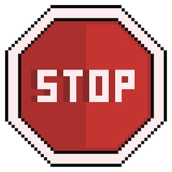 Pixel art stop sign traffic sign icon for 8bit game on white background