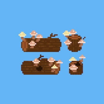 Pixel art stump with mushrooms set.8bit.autumn.