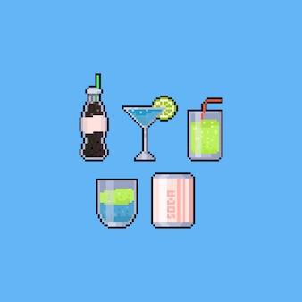 Pixel art summer drink icon set. 8bit.
