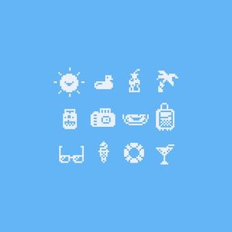 Pixel art summer icon set