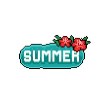 Chaba 꽃과 픽셀 아트 여름 텍스트 디자인.