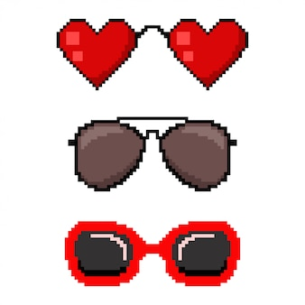 Pixel art sunglasses.   8 bit game web icon set isolated on white background.