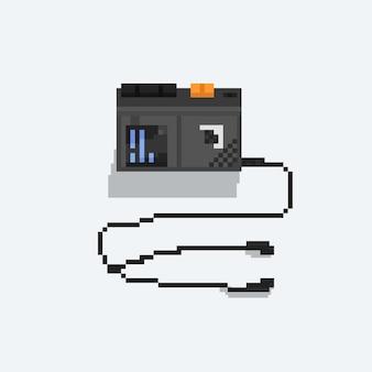 Пиксель арт кассетный магнитофон с наушниками.