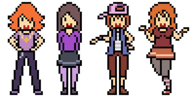 Pixel art of teenager group friend