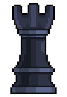 Pixel art tower chess piece for 8bit game on white background