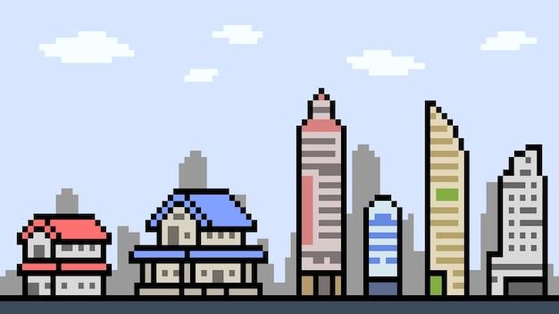 Pixel art of town building landscape