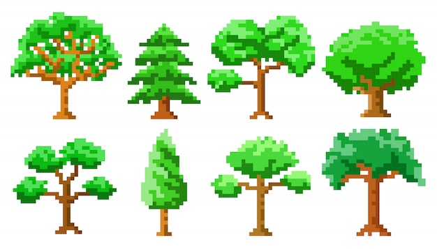 Pixel art trees isolated set