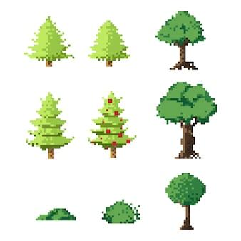 Pixel art trees set
