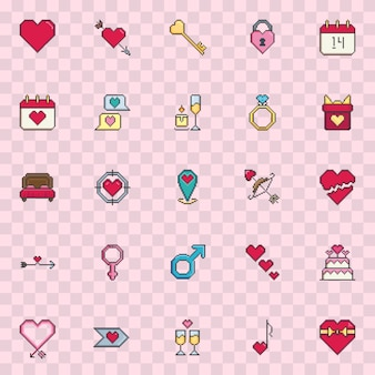 Pixel art valentine day vector icon set.