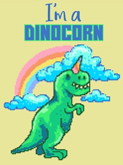 Pixel art vector illustration of cute dinosaur with rainbow, cloud and ice cream cone on the head.