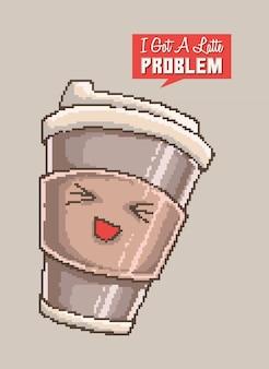 재미있는 단어 말장난과 라떼 캐릭터 미소의 귀여운 컵의 픽셀 아트 벡터 일러스트.