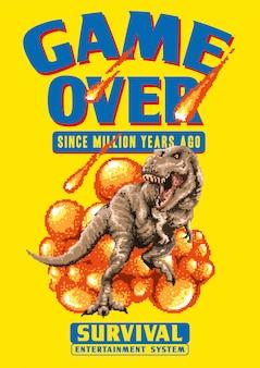 Пиксель арт векторная иллюстрация t-rex, идущего с падением астероида. эта иллюстрация сделана в стиле пиксельной графики 80-х годов.