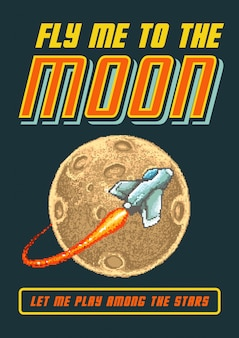 Pixel art vector illustration of space shuttle flying to the moon with 80s video game colors style