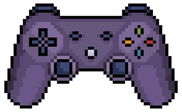Pixel art video game joystick 8bit icon on white background
