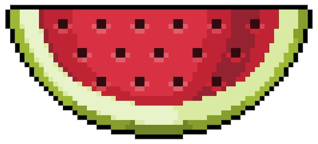 Pixel art watermelon for bit game on white background
