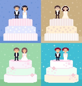 Pixel art wedding cakes with couples on top. 8-bit characters, brides, and grooms.