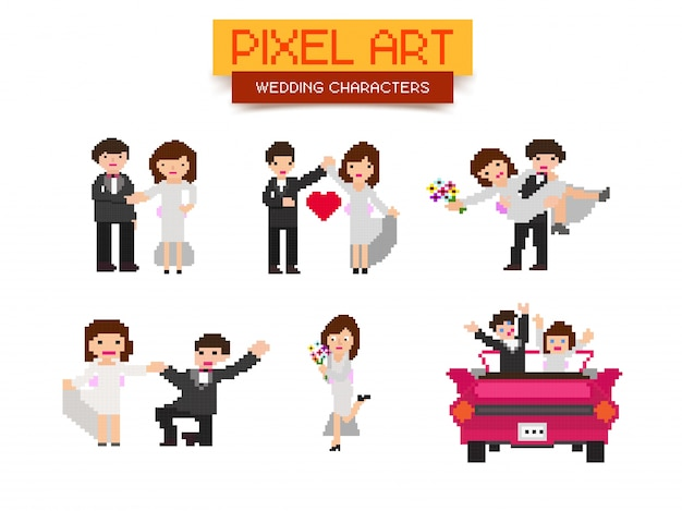 Pixel art wedding characters set.