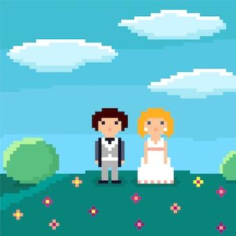 Pixel art wedding couple.
