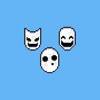 ピクセルアートの白いマスクのイラスト。