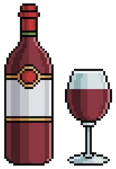 Пиксель арт бутылка вина и стекло. алкогольный напиток 8-битный игровой предмет