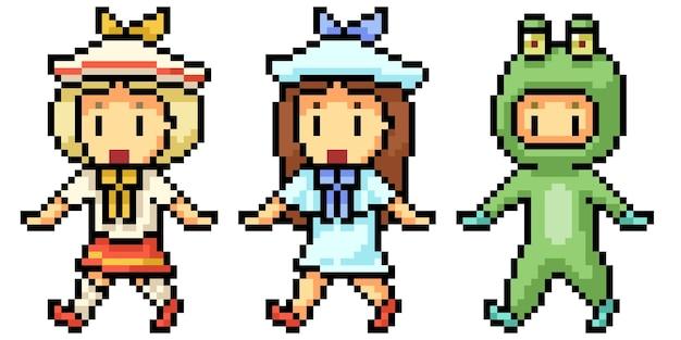 Pixel art of young girl kindergarten