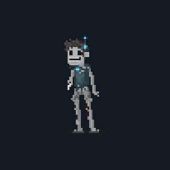 Пиксельный персонаж зомби с ошейником контроллера