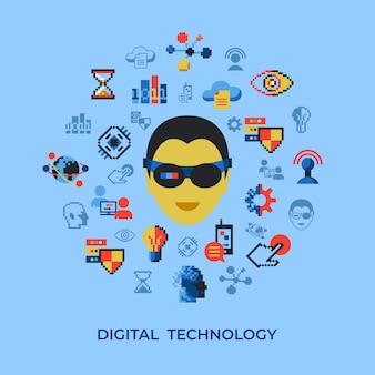 Набор цифровых технологий и сетевых значков pixel art