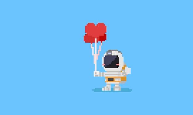 Pixel astronaut holding heart balloons