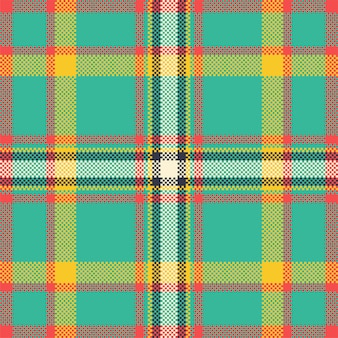 Pixel background design. modern seamless pattern plaid. square texture fabric. tartan scottish textile. beauty color madras ornament.