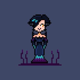 Пиксель красивая дама в платье злой персонаж ведьма