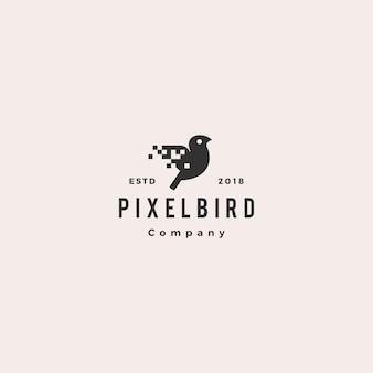 Pixel bird digital logo hipster