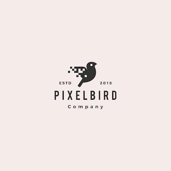Pixel bird digital logo hipster