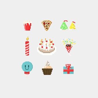 픽셀 생일 파티 요소.