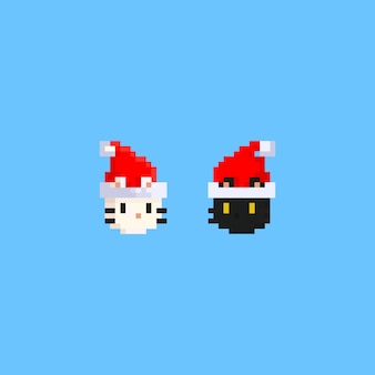 Pixel black and white cat head with santa hat